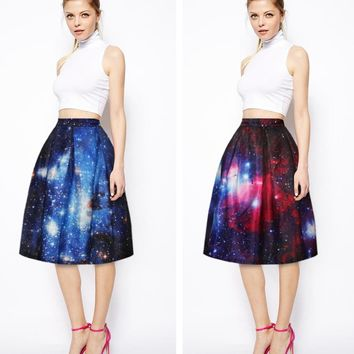 Purple Blue Starry Sky Women Skirts Knee Length Pleated Skirts High Waist Long Skirts 3D Printing Vogue Skater Skirts Autumn