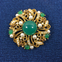 Signed ART Green & White Brooch, Faux Pearl Beads and Faux Jade Beaded Pin, ModeArt 1950s-1970s, Designer Vintage Brooch