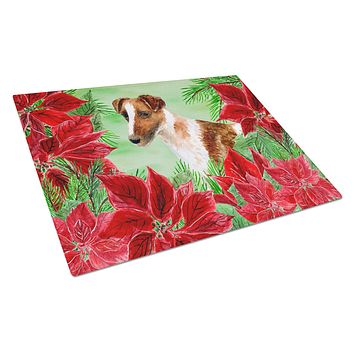 Smooth Fox Terrier Poinsettas Glass Cutting Board Large CK1296LCB