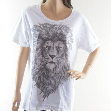 Lion T-Shirt (Size M) Animal Style Unisex T-shirt Lion Shirt White T-Shirt Screen Print Size M