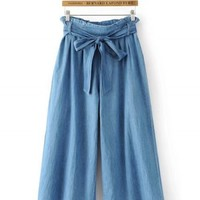 High Waist Wide Leg Denim Pants with Belt - NOVASHE.com