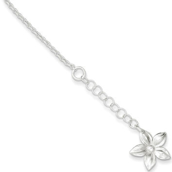 925 Sterling Silver Summertime Flower Dangle Ankle Bracelet