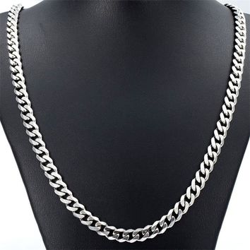 "5/7MM 20""/ 22""/ 24""Fashion Punk  Hiphop Rock Mens Jewelry  Stainless Steel Silver Curb Cuban Chain Necklace Charm Cool Jewelry"