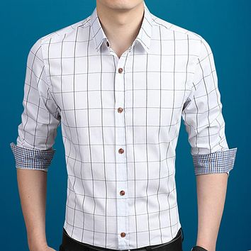 Mens Plaid Button Down Shirt in White