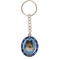 Sheltie Portrait Oval Metal Keychain