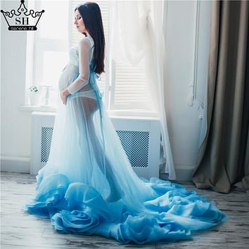 Sexy Evening Dress Blue See Though  Long Sleeves  Pregnant Photography Rose Flowers Evening Dress 2017 Real Picture Serene Hill