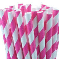 Hot Pink Striped Paper Straws - set of 25