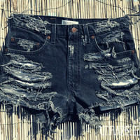 High Wasted Trashed Jean Shorts (MEDIUM)