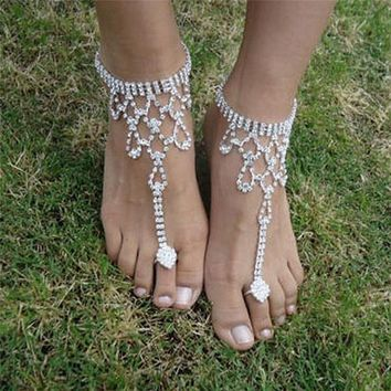 1 Pc Bridal Crystal Beach Barefoot Sandals Foot Toe Anklet Bracelet Women Fashion Ankle Jewelry Accessory
