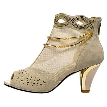 Passionow Women New Style Beautiful Lace Mesh Peep Toe Rhinestone Shoes