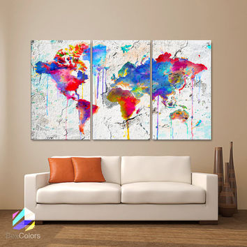 "LARGE 30""x 60"" 3 Panels Art Canvas Print Map world watercolor Abstract Colorful Wall decor Home interior Decoration (framed 1.5"" depth)"