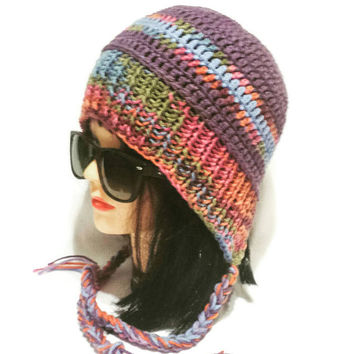 Women Earflap Hat, Knit Slouchy Beanie Cap with Braids, Crochet Colorful Hat, Hood Tassel Hat, Braided Female Cap, Female bonnet, Chullo Hat
