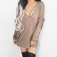 Serena Strappy Sweater Dress (Taupe)