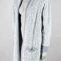 Vintage 80s Sweater / 1980s Gray and White Marled Popcorn Knit Chunky Oversized Sweater S M