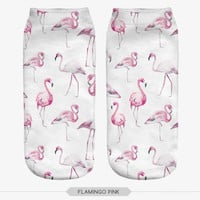 fashion 3D printed FLAMINGO PINK Socks animal cute ankle funny unisex short socks low cut women