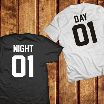 Day Night Shirts, Night and Day Couples Shirts, Matching Tshirts Set 100% Cotton