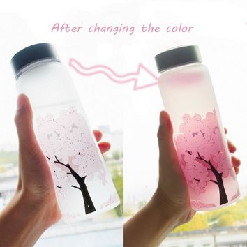 1000 ml Fashion Color Changing Cute Cherry Glass Water Bottle BPA Free For Kids Girl Student Drink Cup With Cover Kawaii Bottles