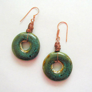Rustic Ceramic Donut Copper Wire-Wrapped Earrings ~Ceramic Earrings~Ceramic Donut Earrings~Rustic Earrings~Boho Earrings~ Dangle Earrings