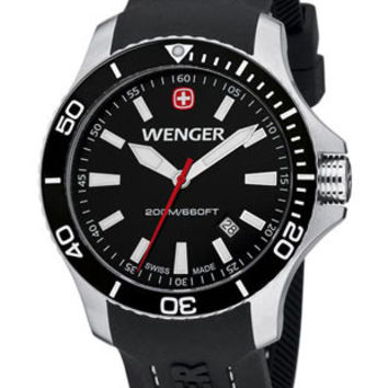 Wenger Mens Sea Force Dive Watch - Stainless Steel - Black Bezel - Rubber Strap