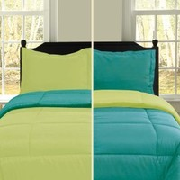 U.S. Polo Assn. 3-Piece Reversible Microfiber Comforter Set, Twin, Turquoise/Lime