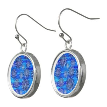 Silver spinning stars aqua water blue design earrings