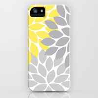 Bold Colorful Yellow Gray Dahlia Flower Burst Petals iPhone & iPod Case by TRM Design