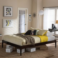 Baxton Studio Bentley Mid-Century Modern Cappuccino Finishing Solid Wood King Size Bed Frame  Set of 1