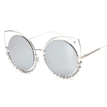Taylor- Cat Eye Oversized Double Frame Sunglasses