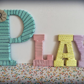 Playroom Decorations, Girls Room Decorative Letter Set by Tightly Wound Designs