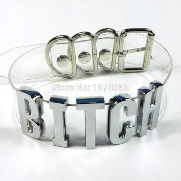 Handmade Women Men Unisex Punk Gothic 100% Silver Metal Letter Choker Clear PVC Transparent Bitch Collar Name Word Necklace