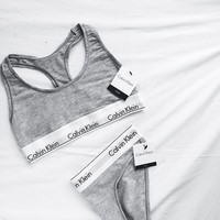 """Calvin Klein""Ms sports bra cotton Triangle suit non-trace bra Blue"