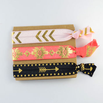 Tribal Hair Elastics 3 Pack - Gold, pastel pink, coral, and jet black hair ties, fold over elastic, favor hair bands, FREE SHIPPING