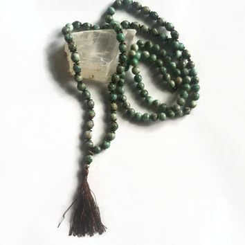 Long Turquoise Jasper Mala prayer beads // japa mala, mala beads, layering necklace, spiritual, ritual, religious