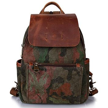 Fashion printed canvas bag retro Street trend backpack single shoulder small chest bag college teenagers backpack