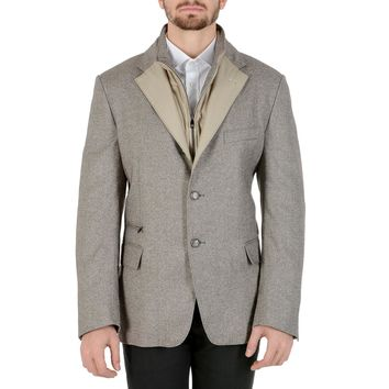 Corneliani Mens Jacket Long Sleeves Light Grey