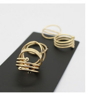 Hot Unique Ring Set  Punk Gold Plated Knuckle Rings for women Finger Ring 6 PCS Ring Set