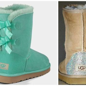 CREY1O NEW - Ugg Surf Spray Bailey Bow Boots with Swarovski Crystal Bling Boot Heel - Mint Ug