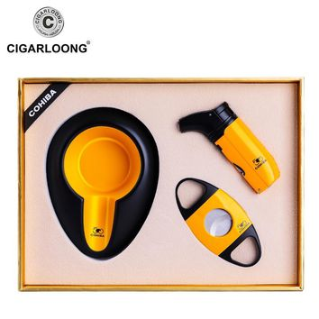 CIGARLOONG Portable cigar ashtray cigar cutter lighter set sharp stainless steel cigar knife 3 sets CQ-4001