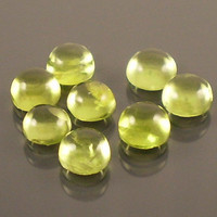 Peridot: 5.27twt Green Round Shape Gemstone Parcel, 8 Natural Hand Made Cabochon Gems, Loose Precious Mineral, DIY Silver Craft Supply 20037