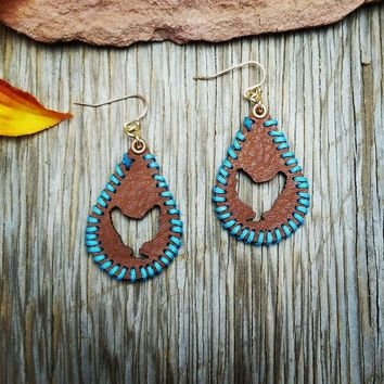Leather Blue Whip Stitch Chicken Earrings