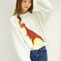 Dinosaur Print Long Sleeve Sweater