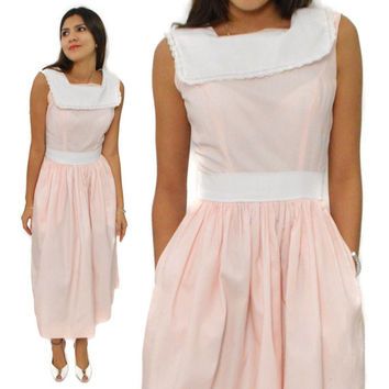 Vintage 80s Sunday Circle Skirt Wide Midriff Pink and White Dress