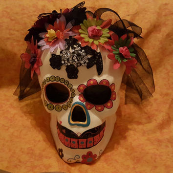 "Vintage Day of the Dead ""Dia de los Muertos"" Hand Painted Skull Ceramic Sculpture Figure With Black Veil and Flowers - Halloween - Mexico"