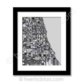 Chicago, Illinois Street Map Wall Art - Choose Any Colors - twenty3stars