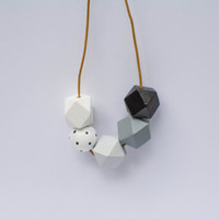 Black and white handpainted wooden bead necklace, geometric necklace, statement necklace, raw natural wood/ neutral, minimalist