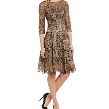 Kay Unger Metallic Lace Fit-and-Flare 3/4 Sleeve Dress | Dillards