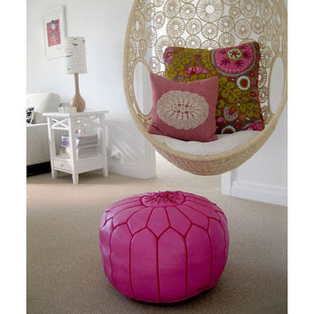 Fuchsia Pink Moroccan Leather Pouf