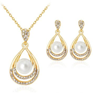 Jewelery Vintage Silver Color Pendant Necklace Set Hollow Out Water Drop And Imitation Pearl Jewelry Sets For Women