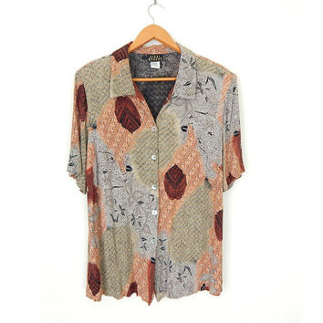 Vintage 90s Abstract Print Plus Size W0men's Blouse - Size 18 - Crinkle Rayon Natural Earthy African Inspired Patterned Button Up 90s Shirt