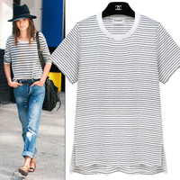 Black And White Stripe T-Shirt With Side Slit